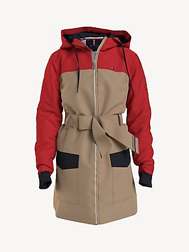 타미 힐피거 우먼 벨티드 자켓 Tommy Hilfiger Essential Colorblock Belted Hooded Jacket,curds & whey