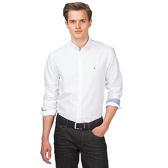 Tommy Hilfiger Oxford Shirt In New York Regular Fit in White