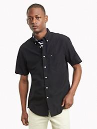 타미 힐피거 셔츠 반바지 Tommy Hilfiger Classic Fit Essential Short-Sleeve Solid Shirt,black