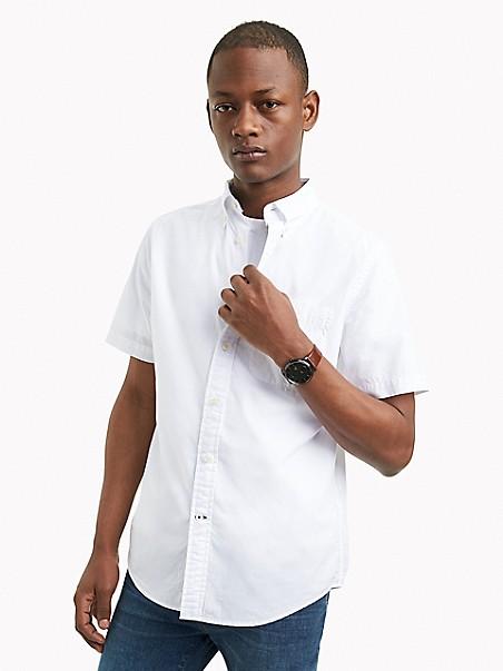 타미 힐피거 셔츠 반바지 Tommy Hilfiger Classic Fit Essential Short-Sleeve Solid Shirt,bright white