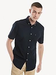 타미 힐피거 셔츠 반바지 Tommy Hilfiger Classic Fit Essential Short-Sleeve Solid Shirt,sky captain