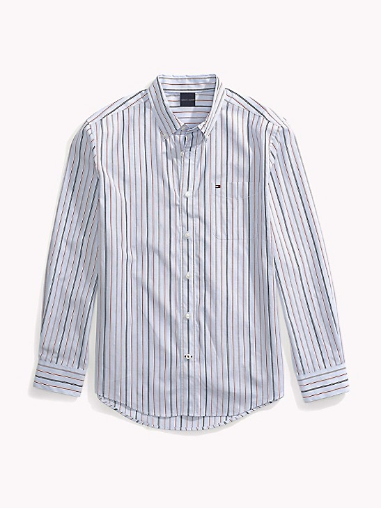 Tommy Hilfiger Men Long Sleeve Custom Fit Button Down Stripe Shirt $0 Free Ship