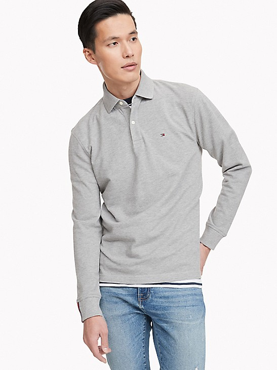 New Tommy Hilfiger Mens Long Sleeve Classic Fit Polo Shirt Variety Colors Sizes