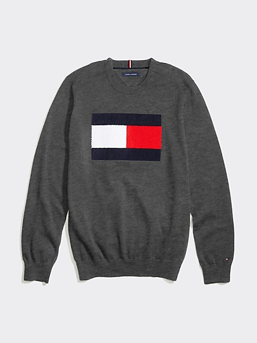 Tommy Hilfiger Long Sleeve Crew T Shirt Black and Charcoal Sizes XS-XL