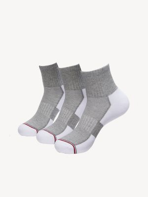 Men\\\'s Quarter Top Sock 3PK, White, - Tommy Hilfiger men\\\'s socks. Three pair of gym-ready socks in soft cotton with just enough stretch.