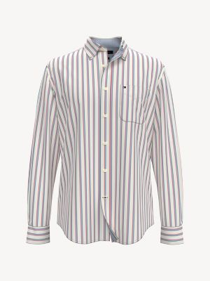 Men\\\'s Classic Fit Essential Stripe Shirt, Snow White, - Tommy Hilfiger men\\\'s shirt. For work and weekends, our shirts are made from premium cotton, and cut for an easy fit.