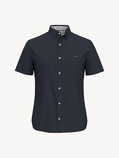 타미 힐피거 셔츠 Tommy Hilfiger Slim Fit Essential No-Tuck Solid Shirt,sky captain