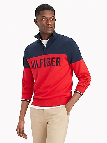 타미 진스 맨 스웨터 TOMMY JEANS Essential Colorblock Quarter-Zip Sweater,HAUTE RED