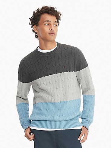 타미 힐피거 맨 스웨터 Tommy Hilfiger Essential Colorblock Sweater,GREY HEATHER/BLUE MULTI