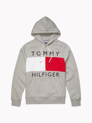 Men\\\'s Logo Flag Hoodie, Grey Heather, - Tommy Hilfiger men\\\'s hoodie. Our logo flag hoodie is a dependable, go-to layer when temps dip (or you\\\'re simply trying to hide bad-hair days). Part of our Adaptive Collection, designed for ease of dressing in classic Tommy style.
