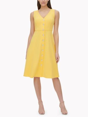 Women\\\'s Essential Sleeveless Dress, Daffodil, - Tommy Hilfiger women\\\'s dress. It\\\'s a fresh look that\\\'s casual, yet polished, for wardrobe versatility. Made from soft, stretch fabric, our sleeveless dress is breezy, lightweight and comfortable.
