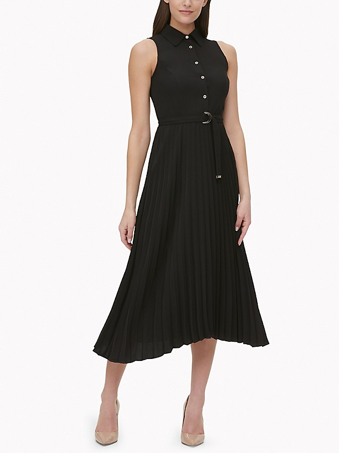 NEW TO SALE Essential Sleeveless Pleated Shirt Dress