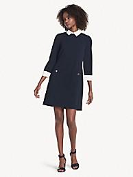 타미 힐피거 에센셜 카라 긴팔 원피스 - 스카이 캡틴/아이보리 Tommy Hilfiger Essential Collared Long-Sleeve Dress a8fc1csg