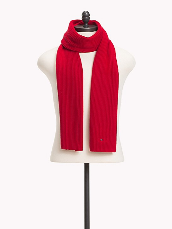 Cotton Cashmere Knit Scarf Tommy Hilfiger, Tommy Hilfiger Peacoat With Scarf
