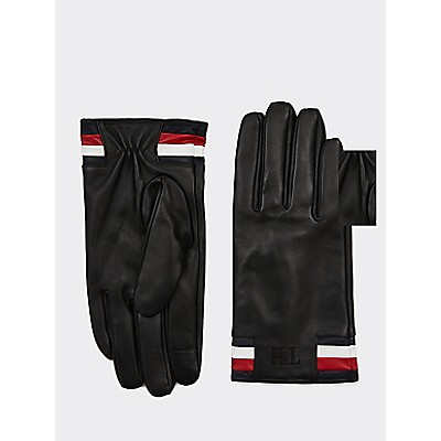 Icon Stripe Leather Gloves by Tommy Hilfiger