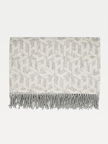 타미 힐피거 Tommy Hilfiger Monogram Wool Scarf,GREY MELANGE / WHITE