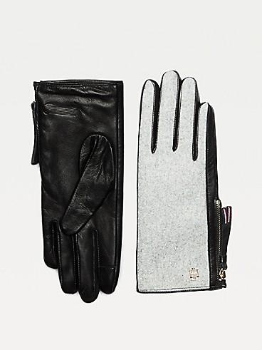 타미 힐피거 Tommy Hilfiger Wool & Leather Gloves,BLUE MIX