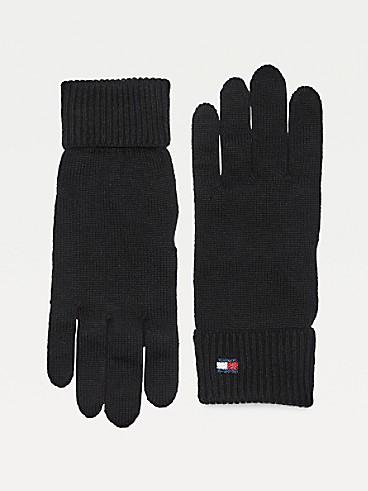 타미 힐피거 Tommy Hilfiger Classic Cotton Gloves,BLACK