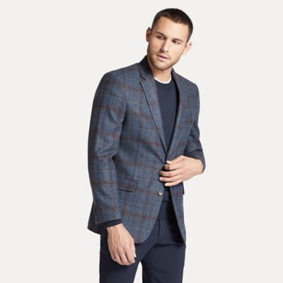Men\\\'s Regular Fit Essential Plaid Blazer, Blue/Burgundy / Plaid, - Tommy Hilfiger men\\\'s blazer. Our essential blazers are made from soft, stretch wool for relaxed polish in the cooler months. Matching pant sold separately.