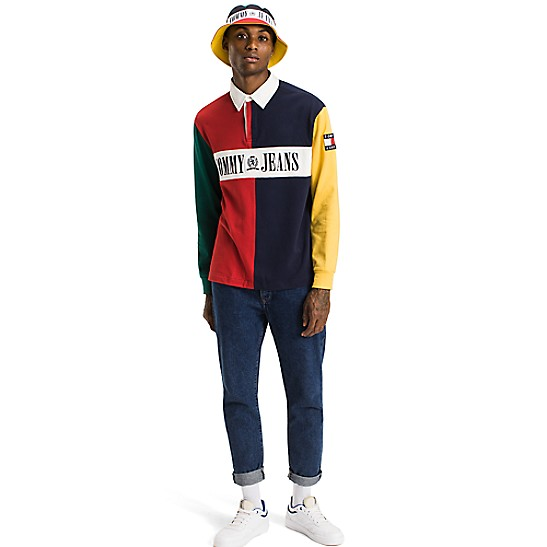 7415fdc426e8ad Capsule Collection Colorblock Rugby Tommy Hilfiger. Tommy Jeans 90s Colour  Block Rugby Shirt