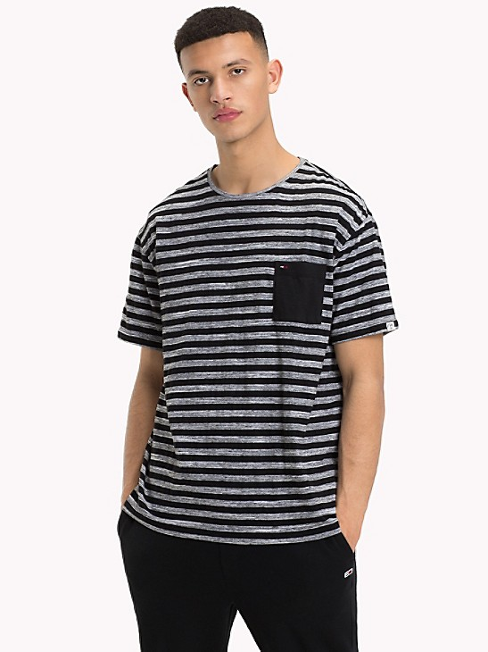 Tommy Hilfiger Boys Modern Stripe Long Sleeve Logo Tee Grey Heather