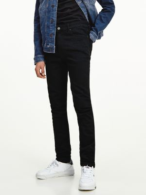 Men\\\'s Skinny Fit Jean, New Black Stretch, - Tommy Hilfiger men\\\'s jean. In a versatile dark wash, the skinniest pair we make is also the most comfortable thanks to innovative stretch denim. Part of our Tommy Jeans collection.