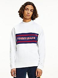 타미 진스 맨 맨투맨 TOMMY JEANS Organic Cotton Mockneck Sweatshirt,white / multi