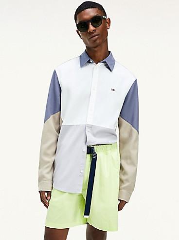 타미 진스 맨 컬러블록 셔츠 (박재범 착용) Tommy Hilfiger Colorblock Shirt,WHITE / MULTI