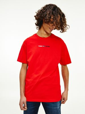 Men\\\'s Organic Cotton Linear Logo T-Shirt, Deep Crimson, - Tommy Hilfiger men\\\'s t-shirt. Another reason to love our tees? They are now made more-sustainably in organic cotton grown free of chemical pesticides and genetically modified seeds (so they look good on you and do right by the planet). Part of our Tommy Jeans collection.