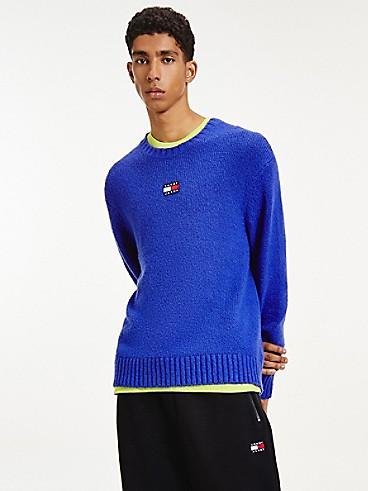 타미 진스 맨 스웨터 TOMMY JEANS Recycled Solid Badge Sweater,COURT BLUE