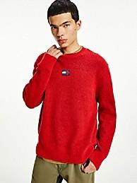 타미 진스 맨 스웨터 TOMMY JEANS Recycled Solid Badge Sweater,DEEP CRIMSON