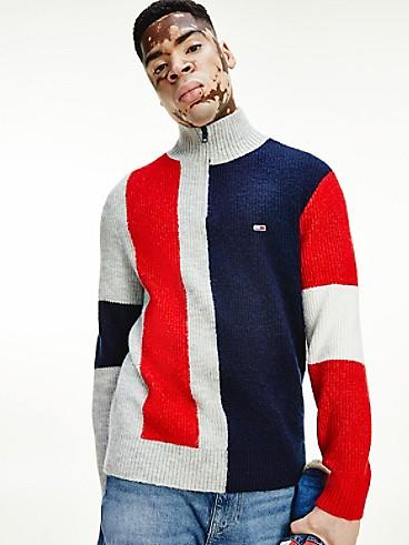 타미 진스 맨 하프집 스웨터 TOMMY JEANS Recycled Colorblock Half Zip Sweater,LIGHT GREY HEATHER/MULTI