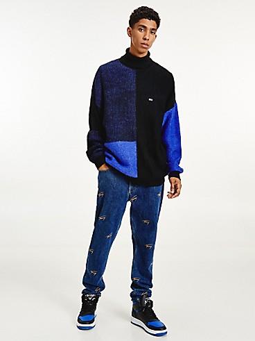 타미 진스 맨 스웨터 TOMMY JEANS Recycled Turtleneck Sweater,COURT BLUE/MULTI