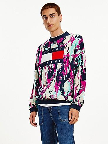 타미 진스 맨 스웨터 TOMMY JEANS Organic Cotton Tommy Flag Camo Sweater,CAMO PRINT