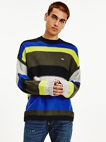 타미 진스 맨 스웨터 TOMMY JEANS Organic Cotton Stripe Sweater,BLACK / MULTI