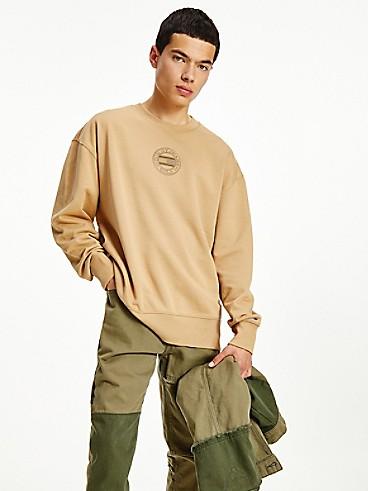 타미 진스 맨 맨투맨 TOMMY JEANS Organic Cotton Tonal Sweatshirt,classic khaki