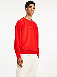 타미 진스 맨 맨투맨 TOMMY JEANS Organic Cotton Tonal Sweatshirt,deep crimson