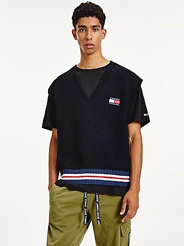 타미 진스 맨 스웨터 조끼 TOMMY JEANS Recycled Wool Flag Sweater Vest,BLACK HEATHER