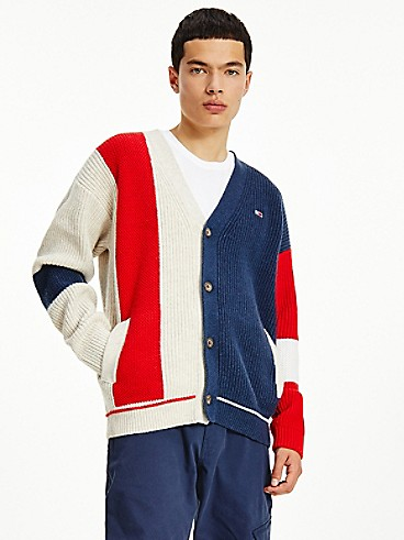 타미 진스 맨 가디건 TOMMY JEANS Recycled Wool Colorblock Cardigan,TWILIGHT NAVY/MULTI