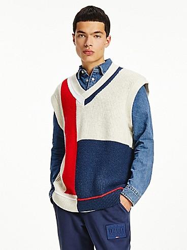 타미 진스 맨 조끼 TOMMY JEANS Recycled Wool Colorblock Vest,TWILIGHT NAVY/MULTI
