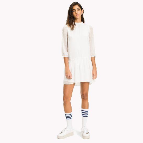 Womens Tjw Ruffle Dobby Dress Tommy Jeans