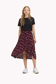 Printed Hem Detail Skirt