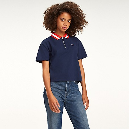 76237f76 Cropped Zip Polo | Tommy Hilfiger