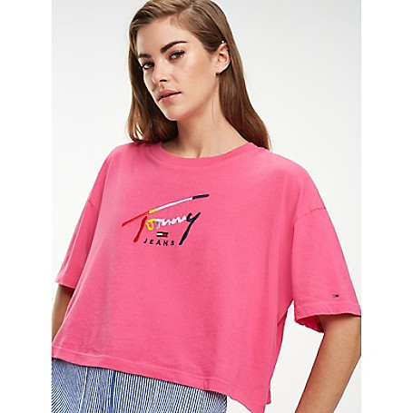 90c4b020 Cropped Tommy Script T-Shirt | Tommy Hilfiger
