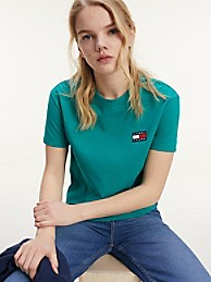 타미 진스 TOMMY JEANS Tommy Badge T-Shirt,MIDWEST GREEN