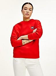 타미 진스 우먼 맨투맨 TOMMY JEANS Organic Cotton Tommy Badge Sweatshirt,deep crimson