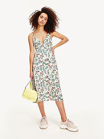 타미 진스 TOMMY JEANS Floral V-Neck Dress,HAWAII PRINT