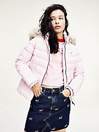타미 진스 TOMMY JEANS Recycled Nylon Hooded Down Jacket,ROMANTIC PINK