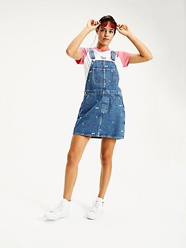 타미 진스 TOMMY JEANS 100% Recycled Cotton Overall Dress,STAR CRITTER BLUE RIGID