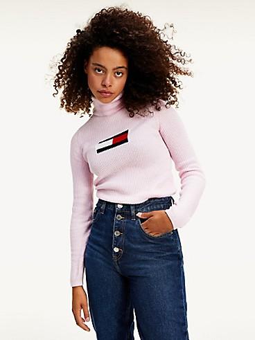 타미 진스 TOMMY JEANS Tommy Flag Roll Neck Sweater,ROMANTIC PINK